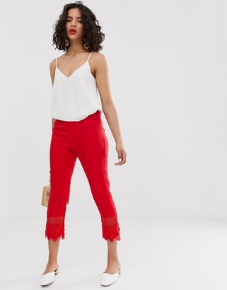 Lost Ink Slim Tailored Pants With Lace Hem