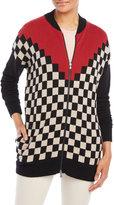 Alysi Color Block Check Cardigan