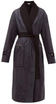 Loewe Reversible Layered Nylon And Wool Coat - Womens - Navy