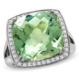 Zales Cushion-Cut Green Quartz Ring in Sterling Silver with Diamond Accents