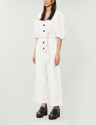 Designers Remix Abby puffed-sleeve linen and cotton-blend jumpsuit