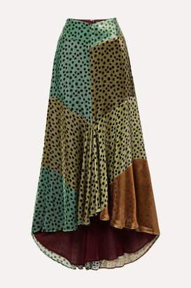 Silvia Tcherassi Delilah Asymmetric Color-block Polka-dot Velvet Midi Skirt - Teal