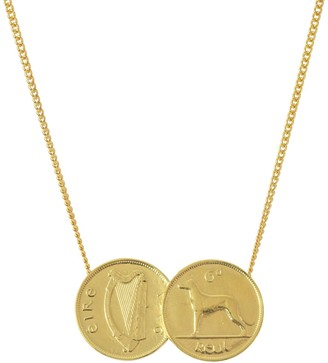 Katie Mullally Double Irish 6D Coin Necklace In Yellow Gold Plate