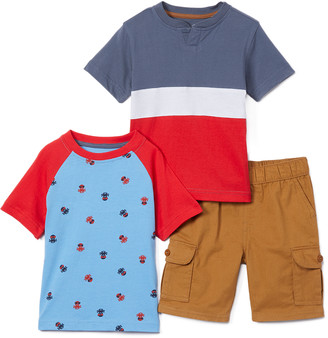 Beverly Hills Polo Club Boys' Casual Shorts COLLEGIATE - Red & Blue Octopus Crewneck Tee Set - Toddler & Boys