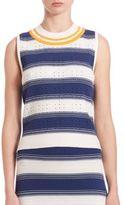 Tanya Taylor Rib-Knit Striped Eyelet Tank Top