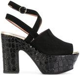 Pollini crocodile-effect platform sandals