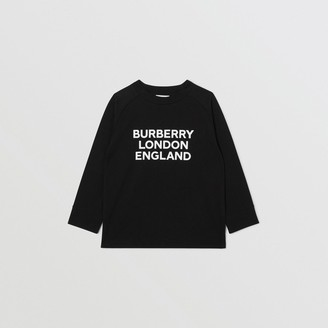 Burberry Long-sleeve Logo Print Cotton Top