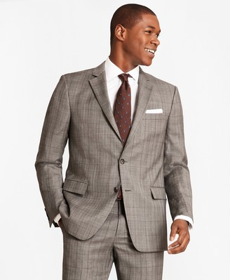 Brooks Brothers Regent Fit Saxxon Wool Grey Plaid 1818 Suit