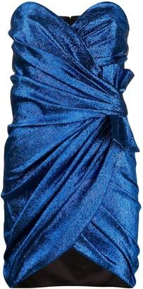 Saint Laurent Wraped Lame Mini Dress