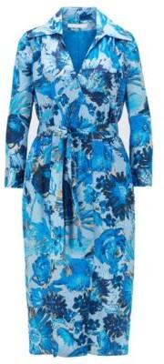 HUGO BOSS Monogram shirt dress in pure silk with floral print