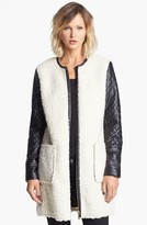 Vince Camuto Faux Shearling & Faux Leather Coat