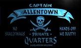 AdvPro Name pw2265-b Allentown Captain Private Quarters Skull Bar Beer Neon Light Sign