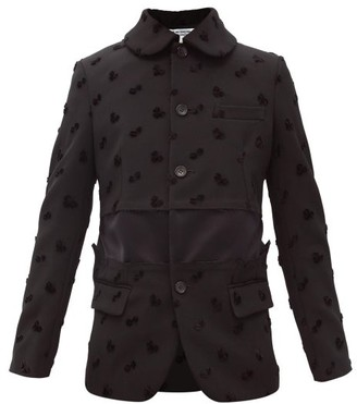 Comme des Garçons Comme des Garçons Velvet Clover-applique Twill Jacket - Black