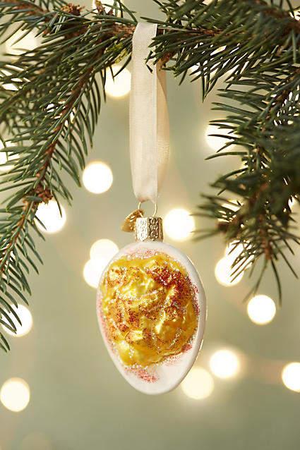 Anthropologie Deviled Egg Glass Ornament