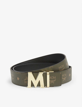 MCM Claus reversible coated-canvas and 24ct gold-plated belt