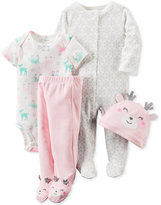 Carter's Baby Girls' 4-Pc. Reindeer Hat, Bodysuit, Footed Coverall & Footed Pants Layette Set