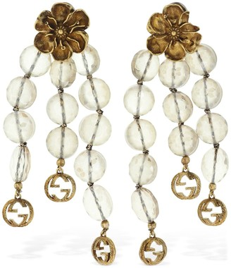 Gucci FLORAL PENDANT CRYSTAL CLIP-ON EARRINGS