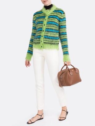 Marni Green And Blue Fuzzy Striped Cardigan
