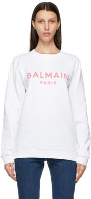 Balmain White and Pink Logo Sweatshirt
