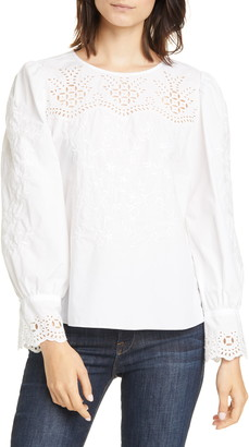 Rebecca Taylor Embroidery Detail Cotton Poplin Blouse