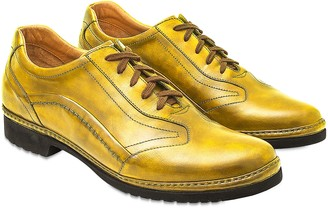 Pakerson Yellow Italian Handmade Leather Lace-up Shoes