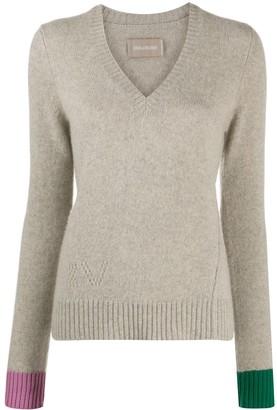 Zadig & Voltaire Nicko contrasting-cuff cashmere jumper