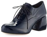 Miu Miu Lu Patent Block-Heel Oxford, Royal