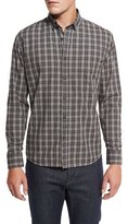 Billy Reid Plaid Cotton Sport Shirt, Gray/Rust