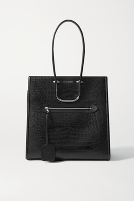 Alexander McQueen The Story Large Croc-effect Leather Tote - Black