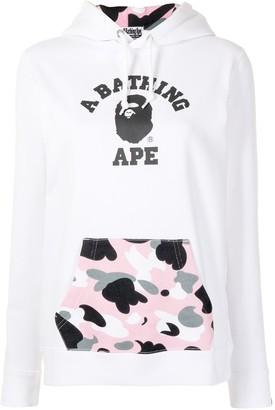 A Bathing Ape Logo-Print Pouch-Pocket Hoodie