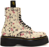 R 13 Ecru Floral Stack Boots