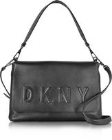 DKNY Debossed Logo Black/Black Leather Flap Shoulder Bag