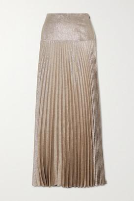 Chloé Metallic Plisse Silk-blend Maxi Skirt - Bronze