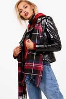 boohoo Jess Red Check Scarf