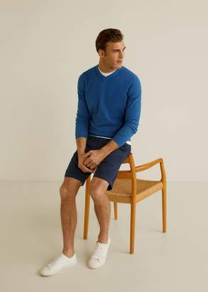 MANGO MAN - Structure cashmere cotton sweater mustard - XS - Men