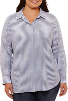 Liz Claiborne Long Sleeve Stripe Button-Front Shirt-Plus