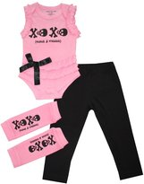 Silly Souls Skull XO Baby Girl Onesie Tutu and Leggings Pink and Black 6-12 Months