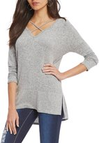 Moa Moa Cozy Criss-Cross Front 3/4 Sleeve Tunic Top