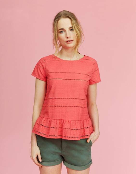 Joules Red Sky Primrose Peplum T-Shirt Size 12
