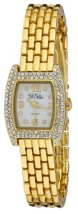 Bob Mackie Women's Gold-Tone Alloy Bracelet Panther Link Square Stone Bezel Watch, 23mm