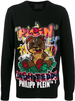 Philipp Plein Teddy Bear embroidery jumper
