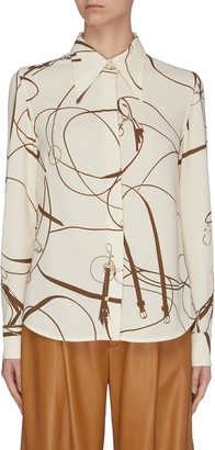 Victoria Beckham Horse bridle print light crepe placket shirt