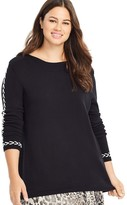 East Adeline By Dia&Co Plus Size East Adeline by Dia&Co Long Sleeve Whipstitch Sweater
