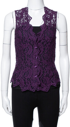 Dolce & Gabbana Purple Lace Sleeveless Vest M