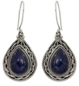 Novica Lapis Lazuli Dangle Earrings, 'Palace Memories'