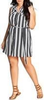 City Chic Striped Shirt Dress