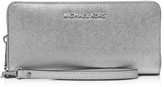 Michael Kors Jet Set Travel Large Silver Metallic Leather Continental Wallet