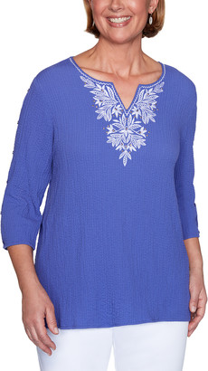 Alfred Dunner Women's Blouses VIOLET - Violet Embroidered Three-Quarter Sleeve Top - Women, Petite & Plus