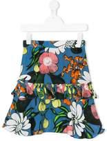 Marni ruffle trim floral skirt