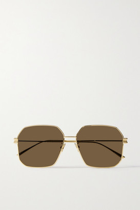 Bottega Veneta Hexagon-frame Gold-tone Sunglasses